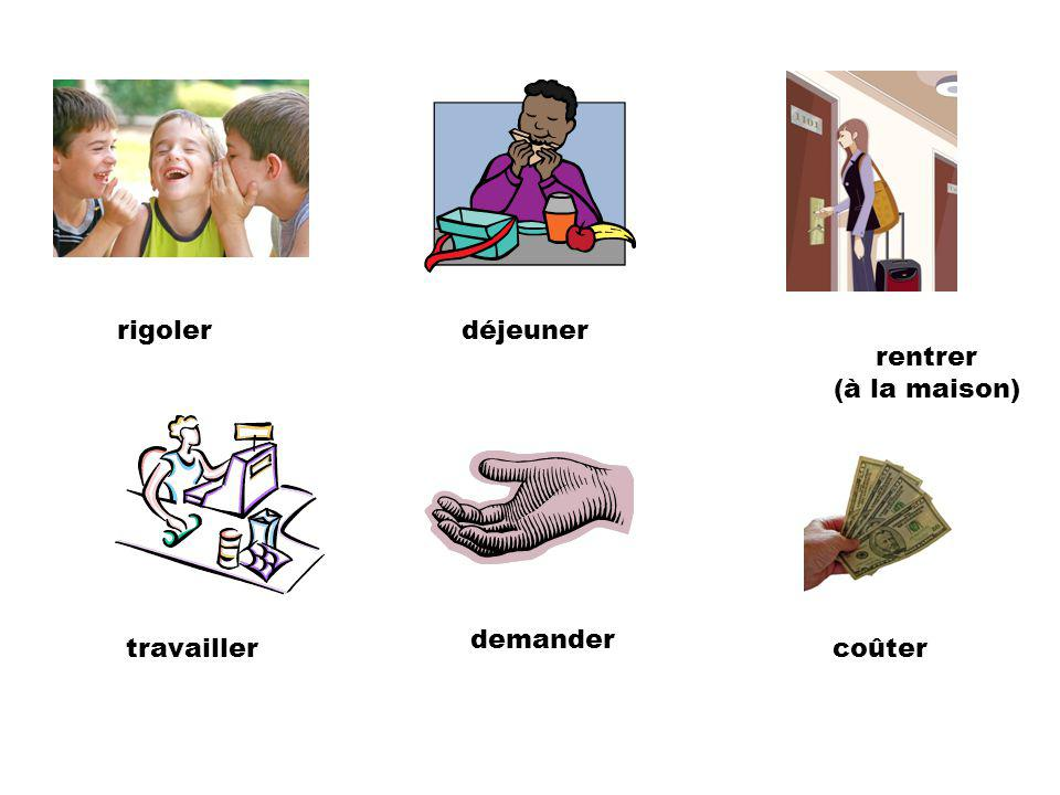 regarder (la télévision) regarder (exemple: le poisson) lever (la main) jouer (au basketball) étudier poser (une question)