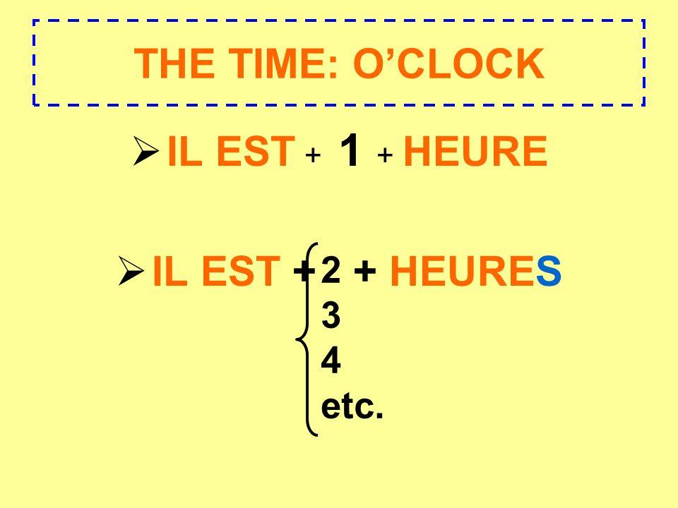 THE TIME: OCLOCK IL EST + 1 + HEURE IL EST + + HEURES 2 3 4 etc.