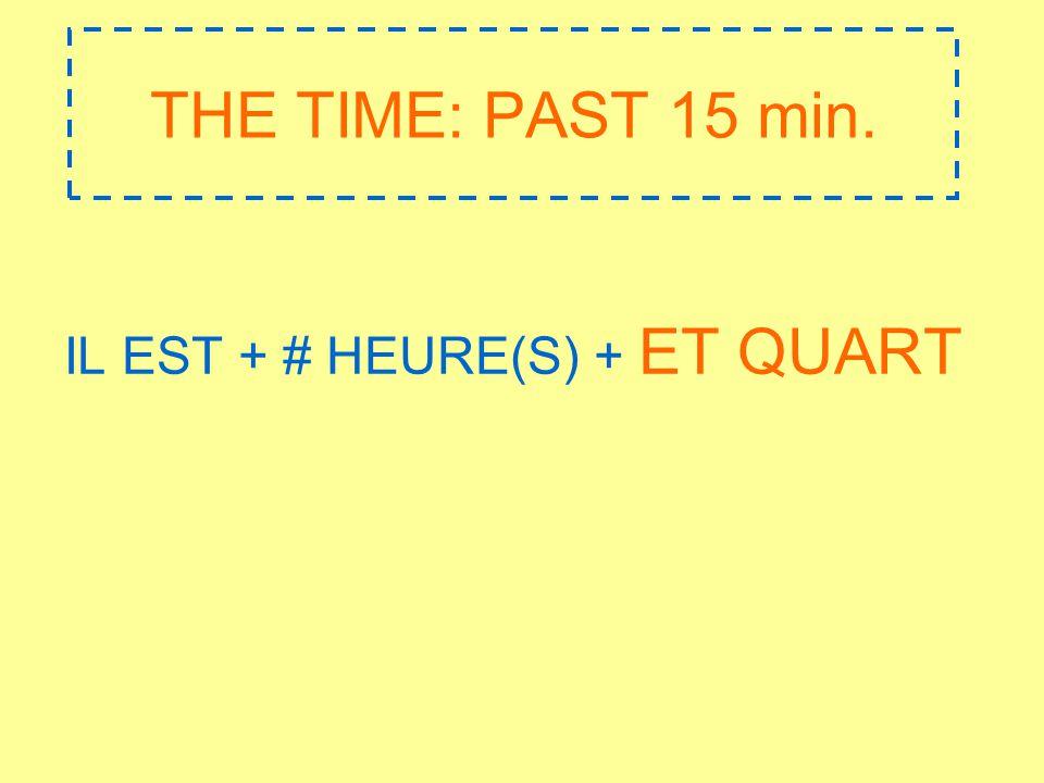 THE TIME: PAST 15 min. IL EST + # HEURE(S) + ET QUART