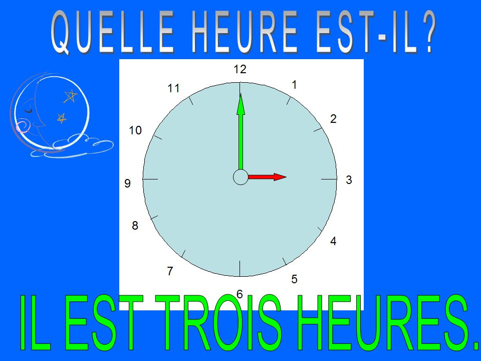 THE TIME: TO next hour IL EST + # HEURE(S) + MOINS # (min)