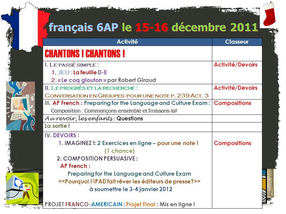 français 6AP Le 9-12 décembre 2011