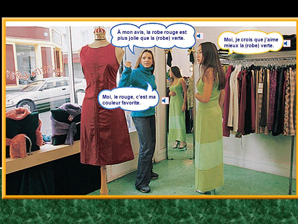 De quelle couleur est la jupe.Elle est verte. Et les chaussures.