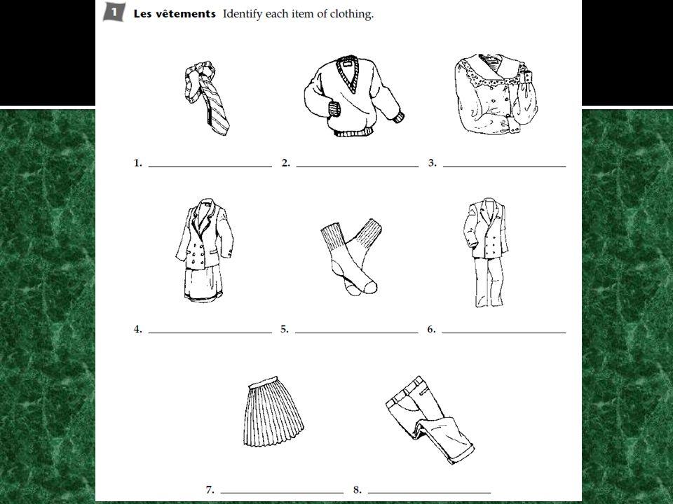 Objectifs: Identifier et décrire les vêtements Exprimer couleur et taille Faire les courses Décrire les activités Faire la comparison de gens et choses Exprimer des opinions Activités: Cahier BV p.