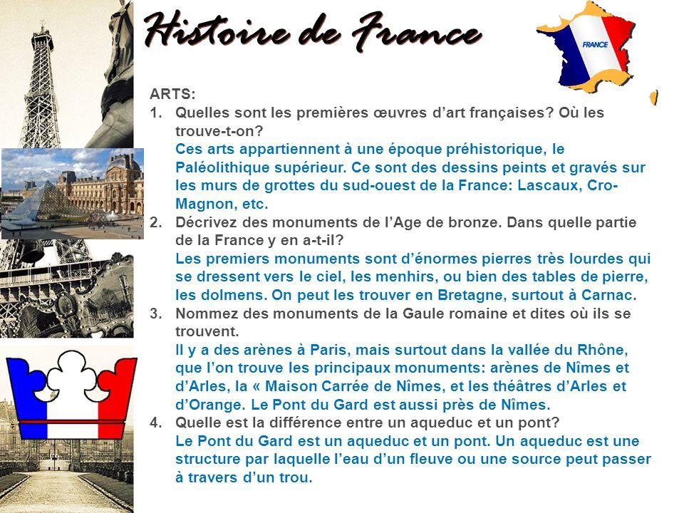 Histoire de France ARTS: 1.Quelles sont les premières œuvres dart françaises.