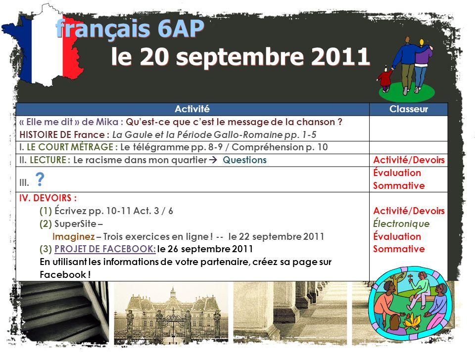 français 6AP le 20 septembre 2011 ActivitéClasseur « Elle me dit » de Mika : Quest-ce que cest le message de la chanson .