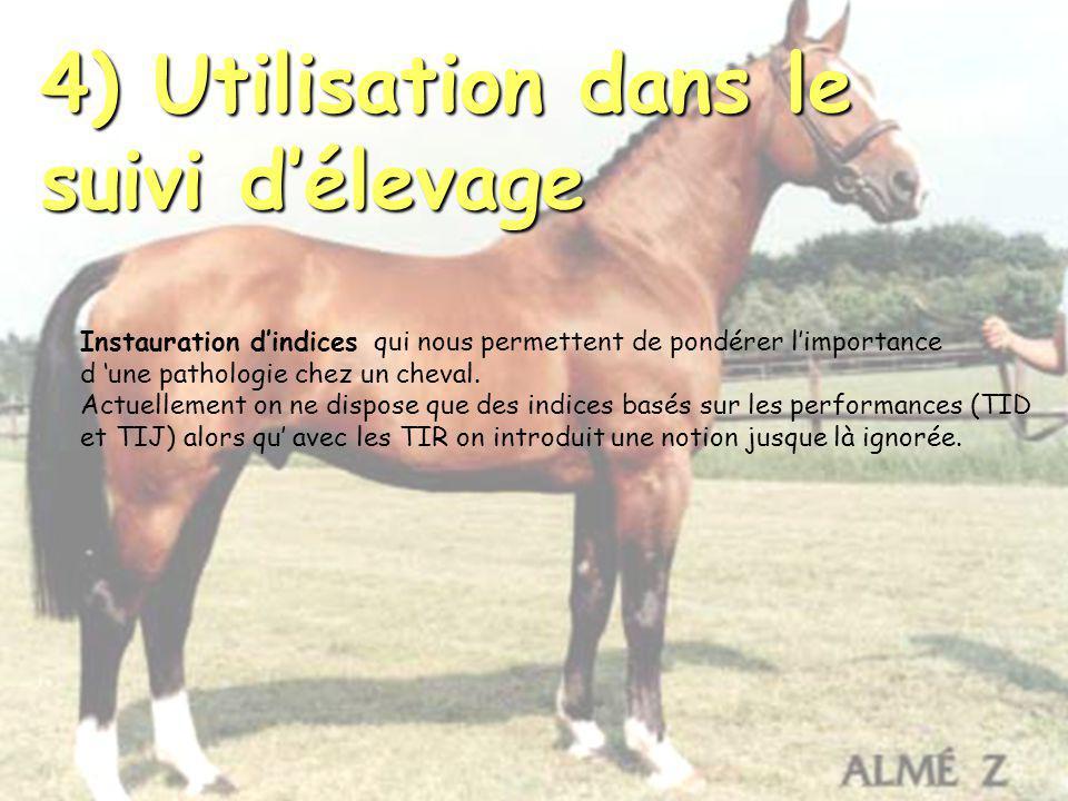 4) Utilisation dans le suivi délevage Instauration dindices qui nous permettent de pondérer limportance d une pathologie chez un cheval. Actuellement