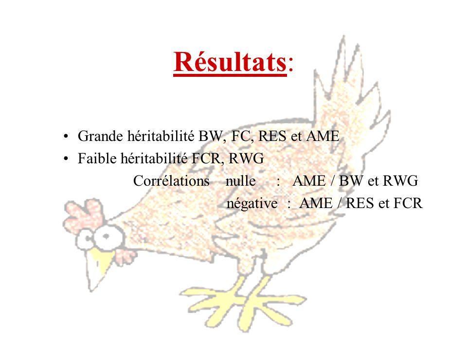Grande héritabilité BW, FC, RES et AME Faible héritabilité FCR, RWG Corrélations nulle : AME / BW et RWG négative : AME / RES et FCR