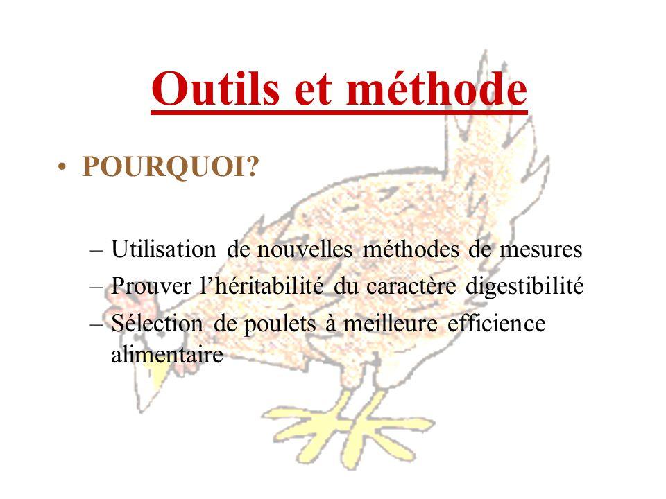 Outils et méthode POURQUOI? –Utilisation de nouvelles méthodes de mesures –Prouver lhéritabilité du caractère digestibilité –Sélection de poulets à me