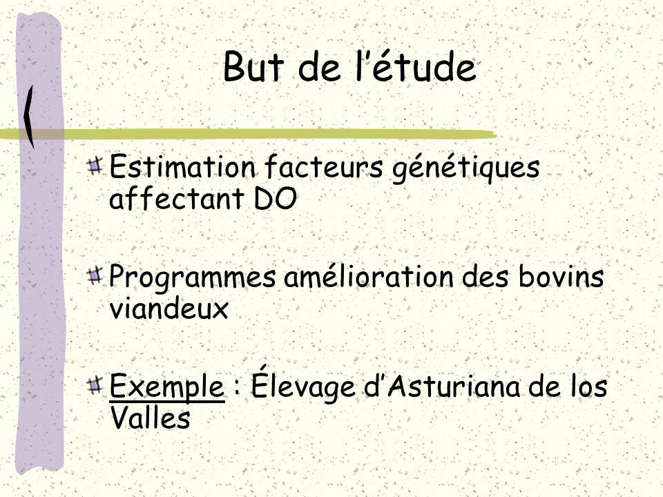 But de létude Estimation facteurs génétiques affectant DO Programmes amélioration des bovins viandeux Exemple : Élevage dAsturiana de los Valles