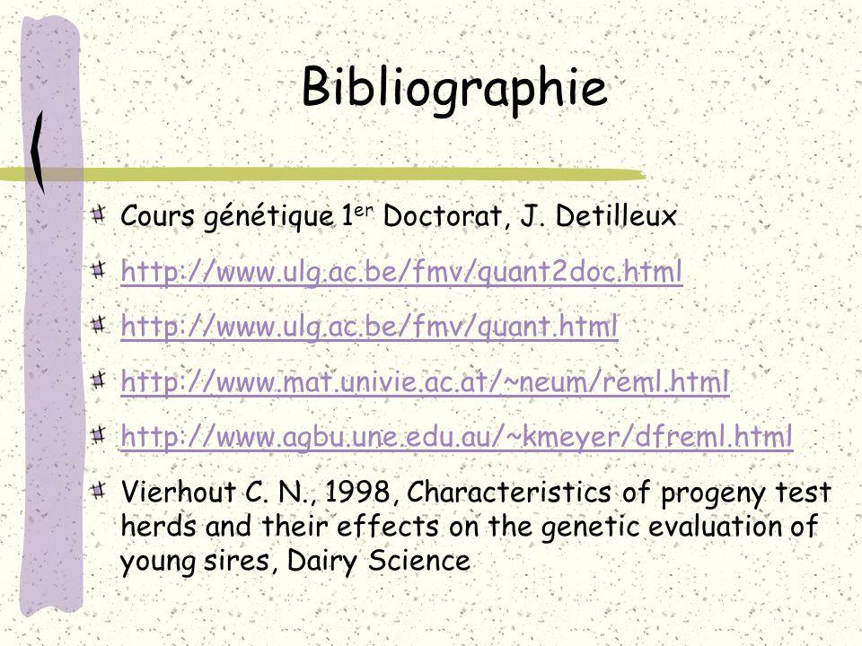 Bibliographie Cours génétique 1 er Doctorat, J. Detilleux http://www.ulg.ac.be/fmv/quant2doc.html http://www.ulg.ac.be/fmv/quant.html http://www.mat.u