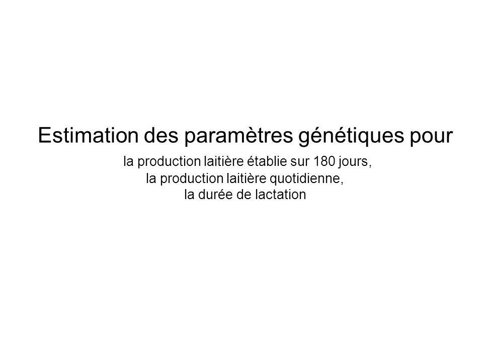 Estimation des paramètres génétiques pour la production laitière établie sur 180 jours, la production laitière quotidienne, la durée de lactation
