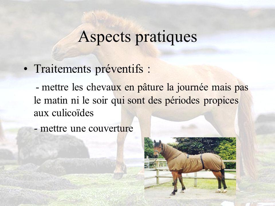 Aspects pratiques Traitements préventifs : - mettre les chevaux en pâture la journée mais pas le matin ni le soir qui sont des périodes propices aux culicoïdes - mettre une couverture
