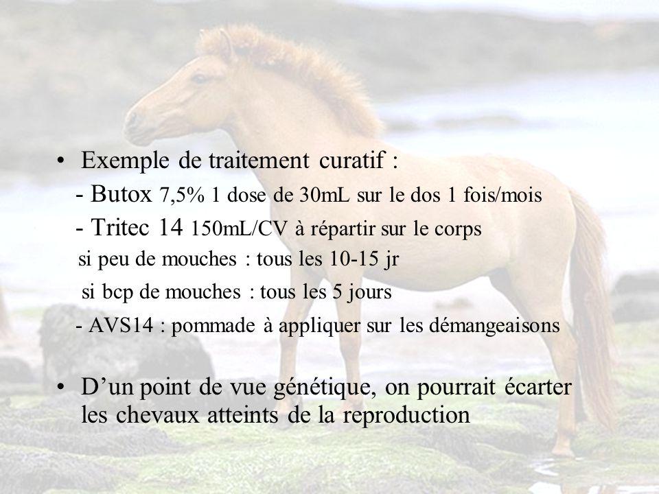 Exemple de traitement curatif : - Butox 7,5% 1 dose de 30mL sur le dos 1 fois/mois - Tritec 14 150mL/CV à répartir sur le corps si peu de mouches : tous les 10-15 jr si bcp de mouches : tous les 5 jours - AVS14 : pommade à appliquer sur les démangeaisons Dun point de vue génétique, on pourrait écarter les chevaux atteints de la reproduction