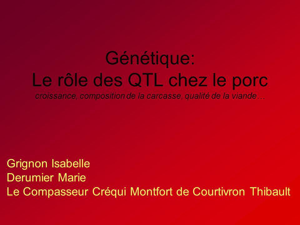Génétique: Le rôle des QTL chez le porc croissance, composition de la carcasse, qualité de la viande… Grignon Isabelle Derumier Marie Le Compasseur Cr
