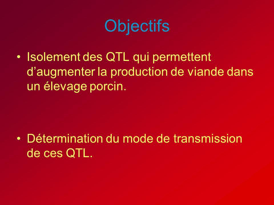 Objectifs Isolement des QTL qui permettent daugmenter la production de viande dans un élevage porcin. Détermination du mode de transmission de ces QTL