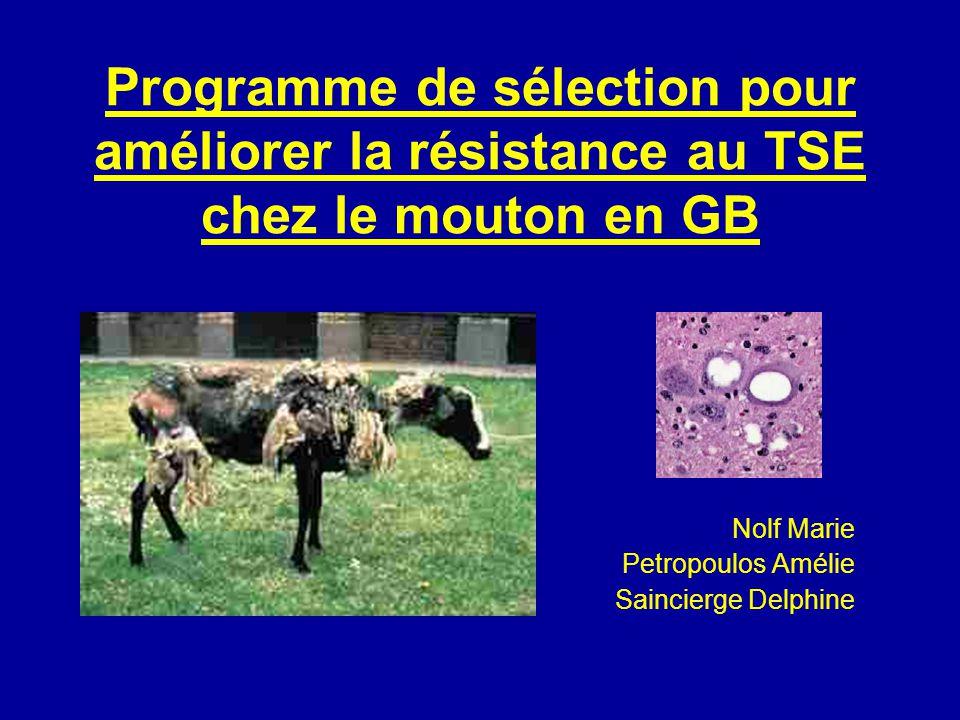Lhéritabilité P = µ + G + E P = Lésions au cerveau µ = Moyenne de la maladie dans la population G = Génotypes des individus et généalogie E = âge, farines animales dans lalimentation, méthodes danalyses, pression dinfection,…
