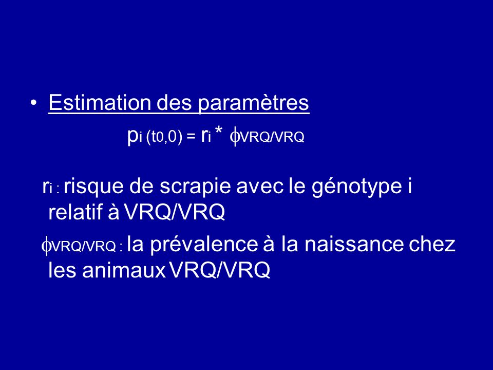 Estimation des paramètres p i (t 0, 0) = r i * VRQ/VRQ r i : risque de scrapie avec le génotype i relatif à VRQ/VRQ VRQ/VRQ : la prévalence à la naiss