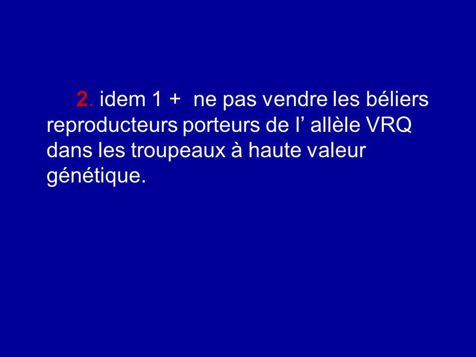 2. idem 1 + ne pas vendre les béliers reproducteurs porteurs de l allèle VRQ dans les troupeaux à haute valeur génétique.