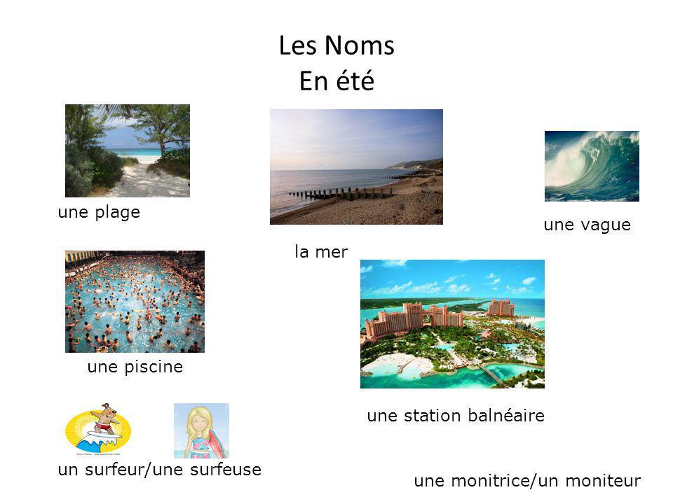Les Noms En été un surfeur/une surfeuse une monitrice/un moniteur une piscine une station balnéaire la mer une plage une vague