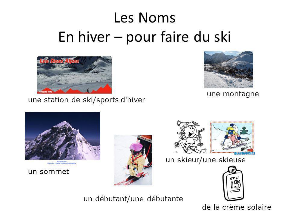 Les Noms En hiver – pour faire du ski une bosse une chaussure de skiun anorakun bonnet un gant un bâton un ski le ski de fondle ski alpin