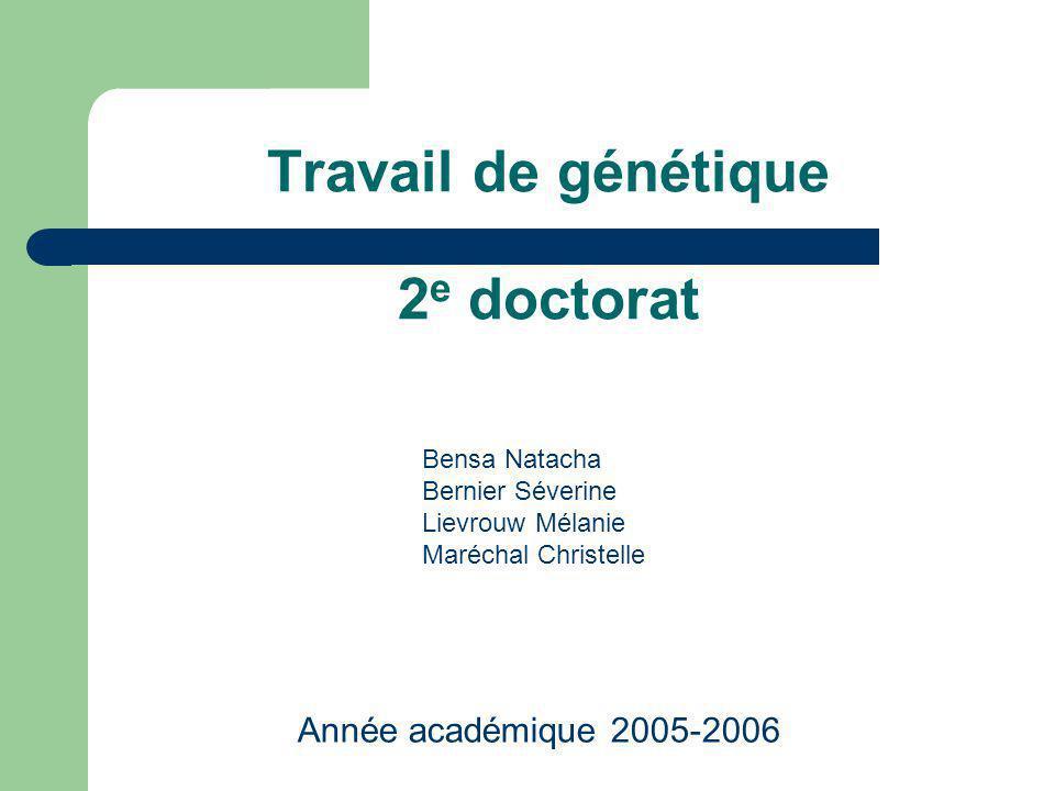 Travail de génétique 2 e doctorat Année académique 2005-2006 Bensa Natacha Bernier Séverine Lievrouw Mélanie Maréchal Christelle