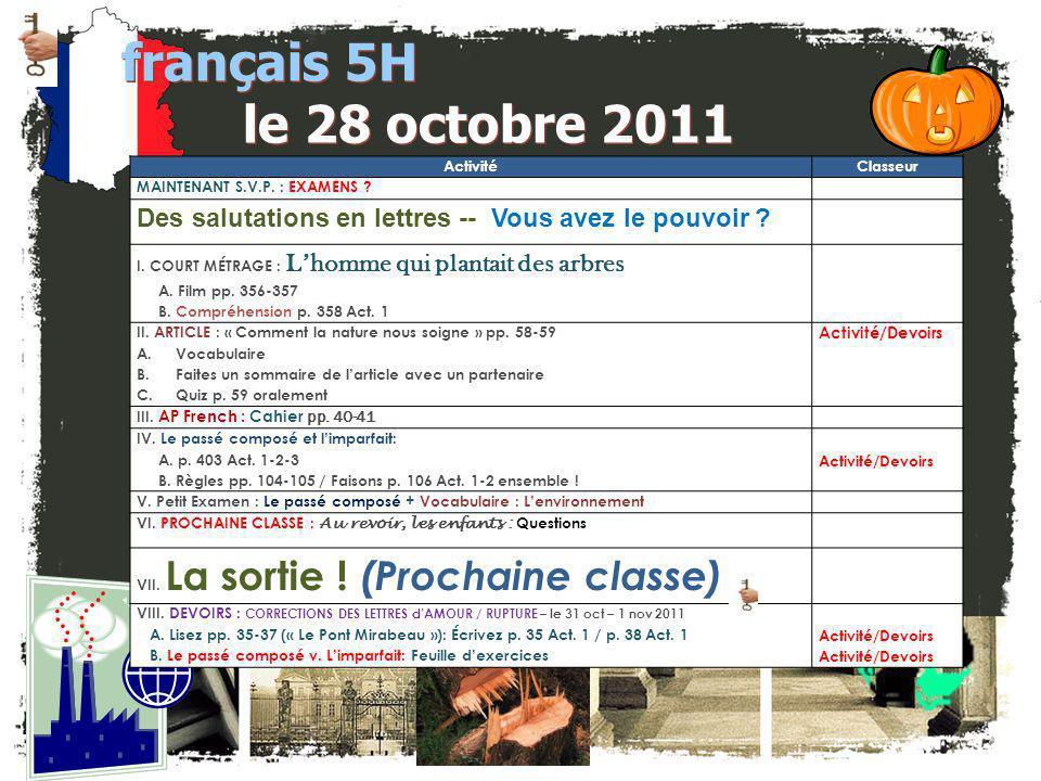 français 5H le 28 octobre 2011