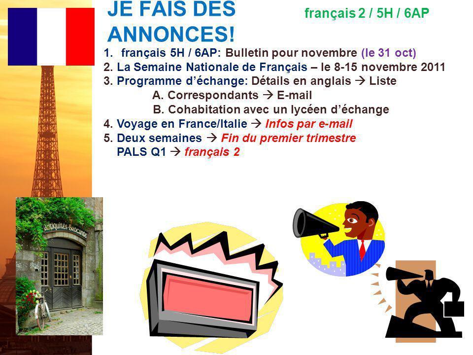 français 6AP Le 25 octobre 2011
