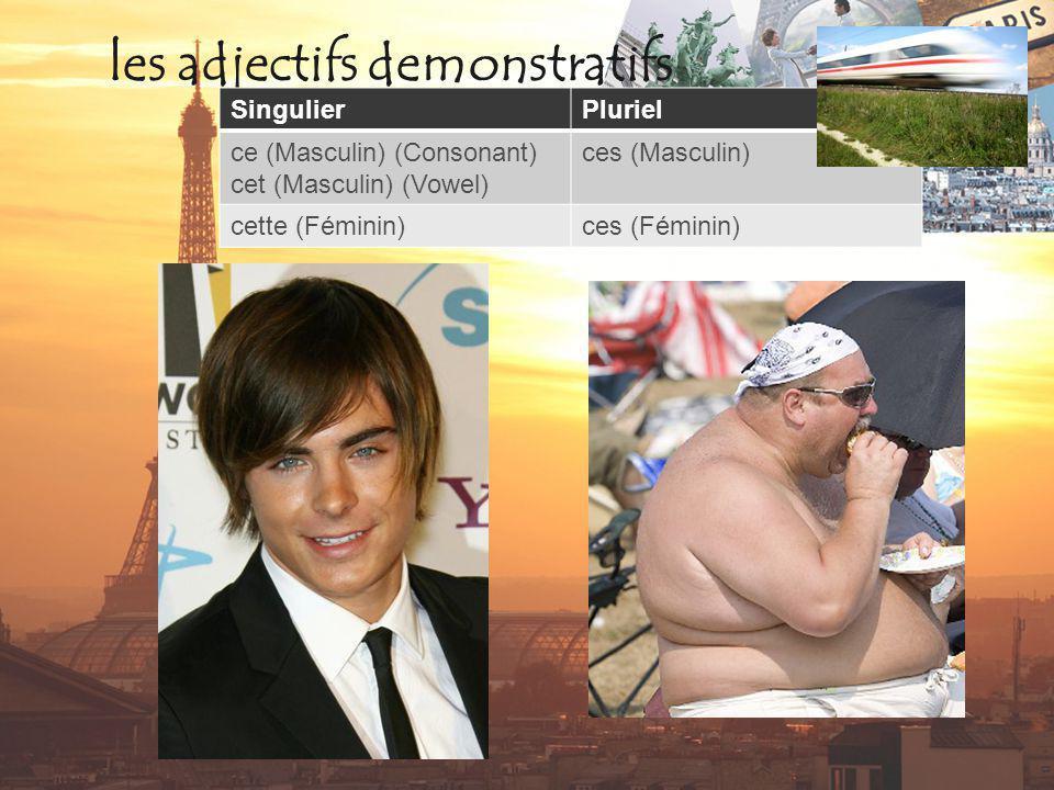 les adjectifs demonstratifs SingulierPluriel ce (Masculin) (Consonant) cet (Masculin) (Vowel) ces (Masculin) cette (Féminin)ces (Féminin)
