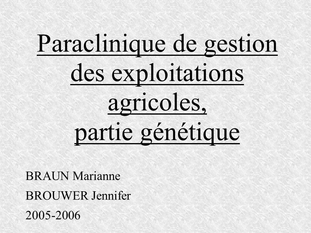 Paraclinique de gestion des exploitations agricoles, partie génétique BRAUN Marianne BROUWER Jennifer 2005-2006