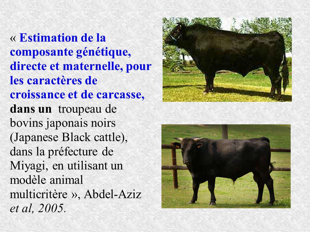 « Estimation de la composante génétique, directe et maternelle, pour les caractères de croissance et de carcasse, dans un troupeau de bovins japonais