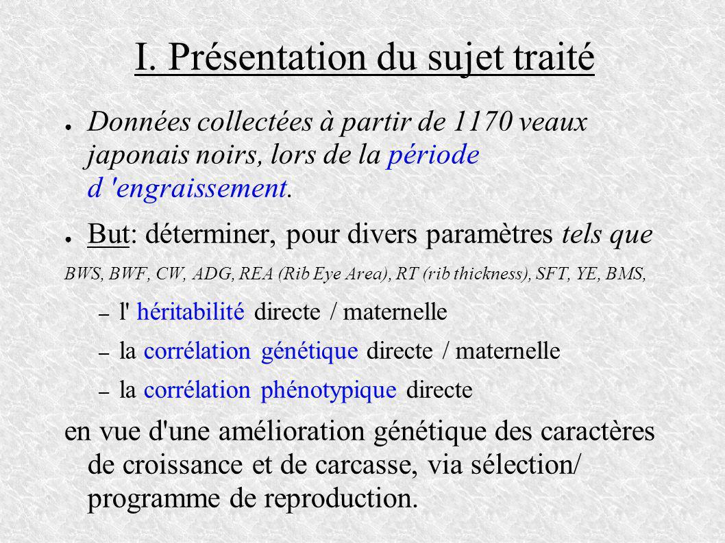 I. Présentation du sujet traité Données collectées à partir de 1170 veaux japonais noirs, lors de la période d 'engraissement. But: déterminer, pour d