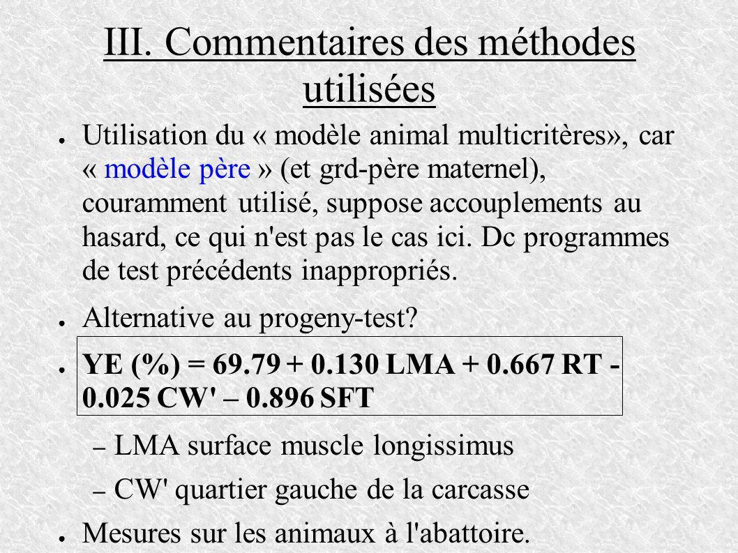 III. Commentaires des méthodes utilisées Utilisation du « modèle animal multicritères», car « modèle père » (et grd-père maternel), couramment utilisé
