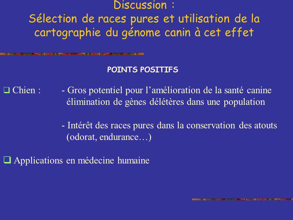 POINTS POSITIFS Chien : - Gros potentiel pour lamélioration de la santé canine élimination de gènes délétères dans une population - Intérêt des races