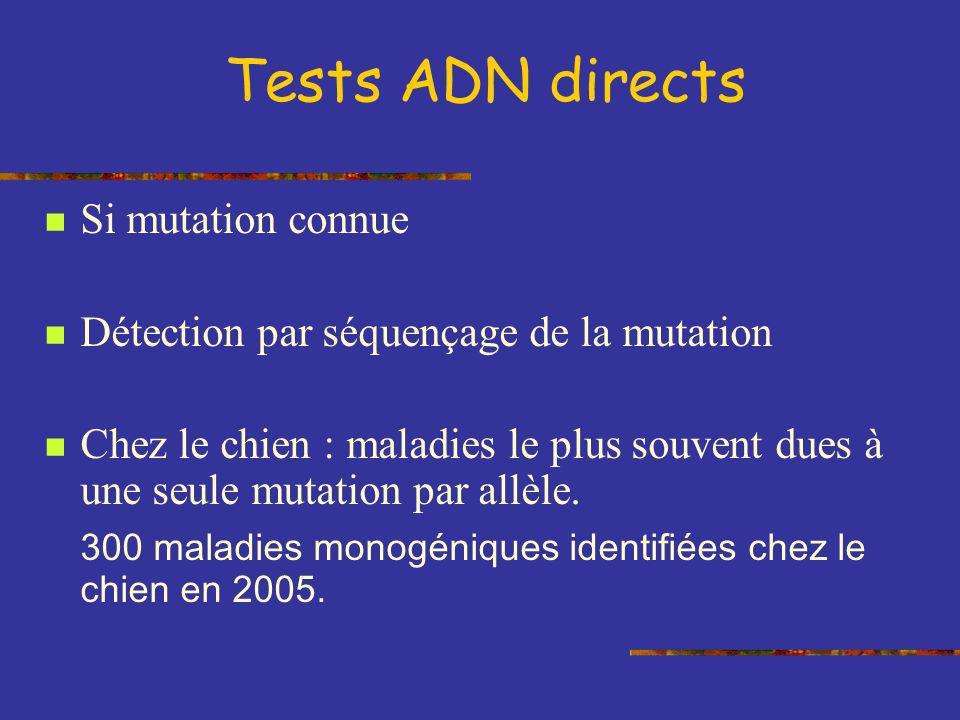 Tests ADN directs Si mutation connue Détection par séquençage de la mutation Chez le chien : maladies le plus souvent dues à une seule mutation par al