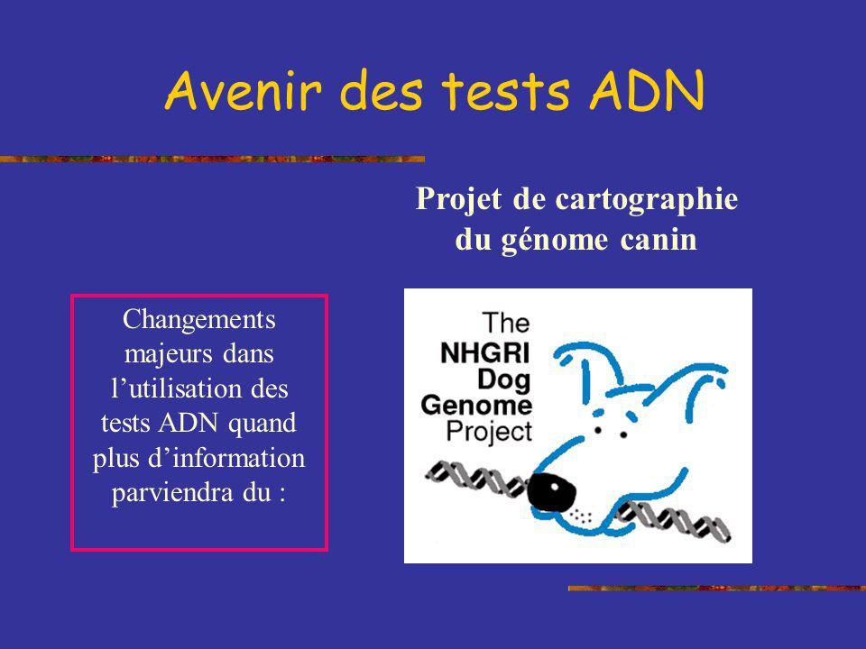 Avenir des tests ADN Changements majeurs dans lutilisation des tests ADN quand plus dinformation parviendra du : Projet de cartographie du génome cani