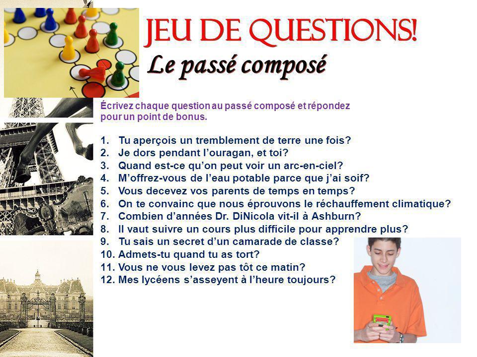 français 5H/6AP Le passé composé -- Emplois et laccord du participe passé I.Le passé composé semploie pour exprimér une action ___________.