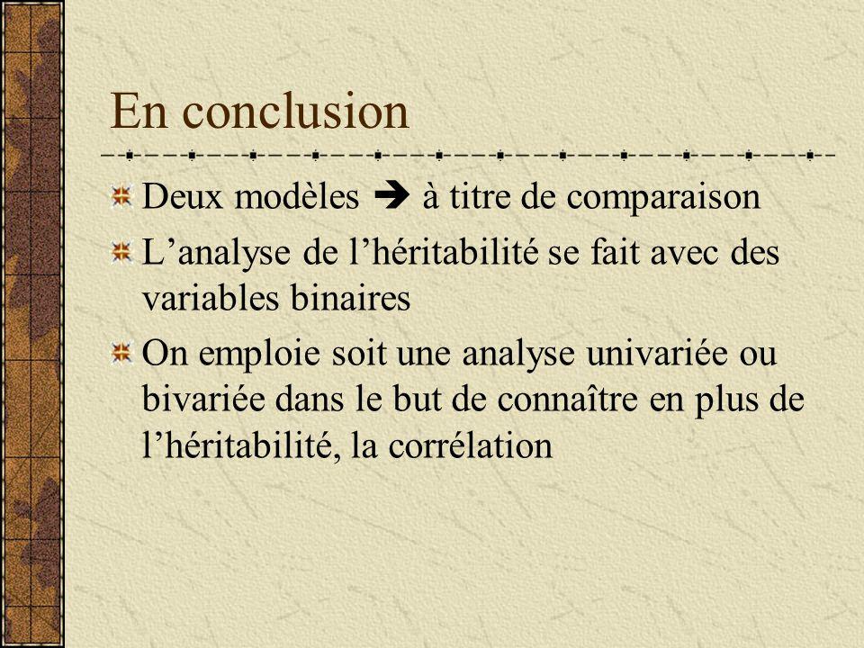 En conclusion Deux modèles à titre de comparaison Lanalyse de lhéritabilité se fait avec des variables binaires On emploie soit une analyse univariée ou bivariée dans le but de connaître en plus de lhéritabilité, la corrélation