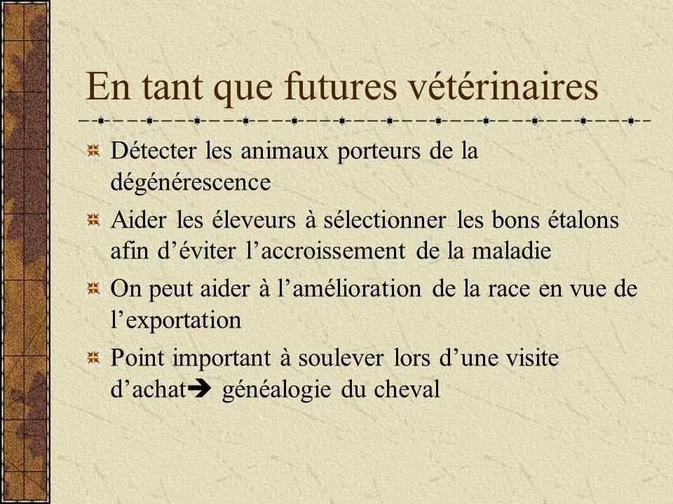 En tant que futures vétérinaires Détecter les animaux porteurs de la dégénérescence Aider les éleveurs à sélectionner les bons étalons afin déviter la