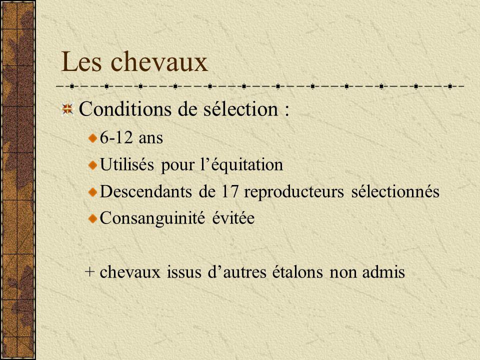 Les chevaux Conditions de sélection : 6-12 ans Utilisés pour léquitation Descendants de 17 reproducteurs sélectionnés Consanguinité évitée + chevaux issus dautres étalons non admis
