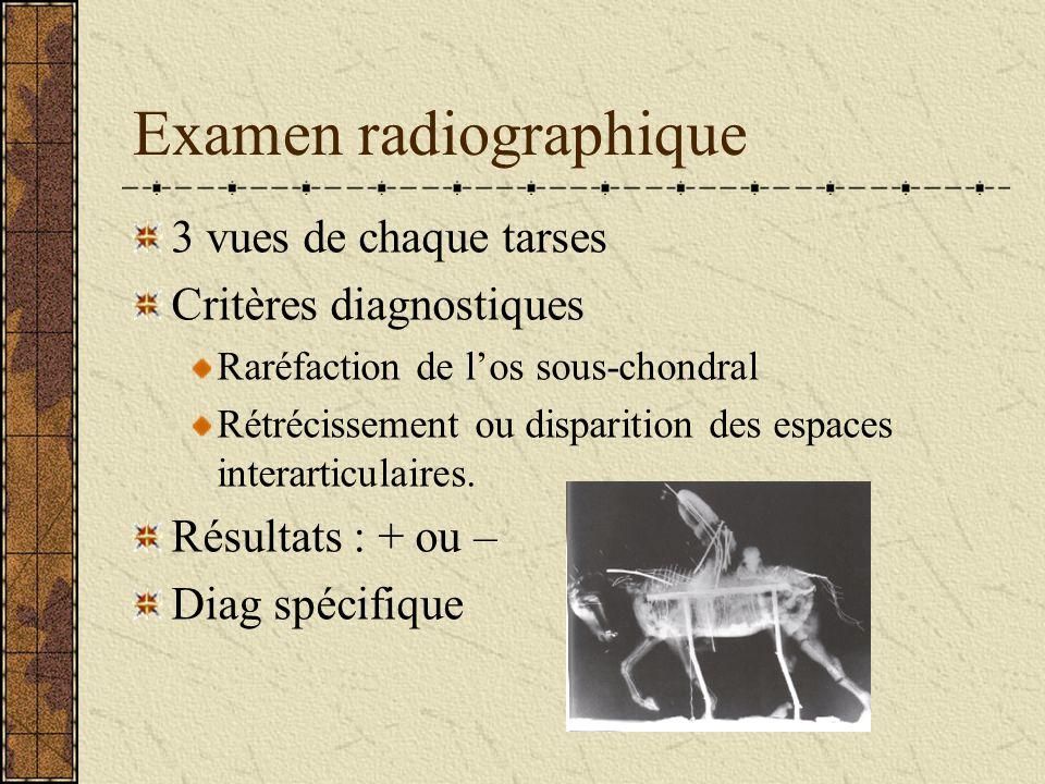 Examen radiographique 3 vues de chaque tarses Critères diagnostiques Raréfaction de los sous-chondral Rétrécissement ou disparition des espaces intera