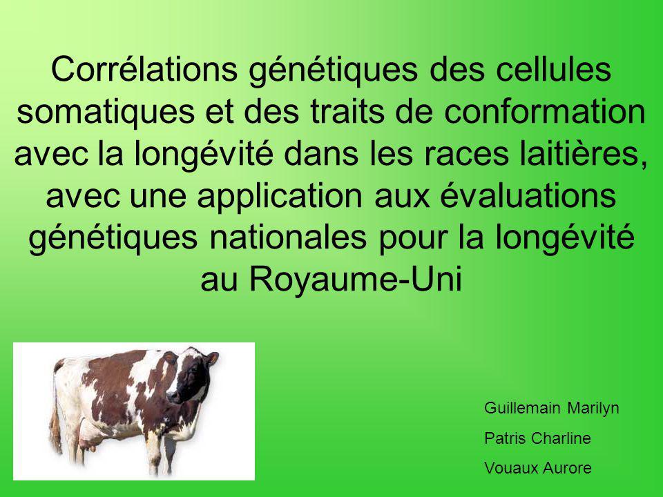 Corrélations génétiques des cellules somatiques et des traits de conformation avec la longévité dans les races laitières, avec une application aux évaluations génétiques nationales pour la longévité au Royaume-Uni Guillemain Marilyn Patris Charline Vouaux Aurore