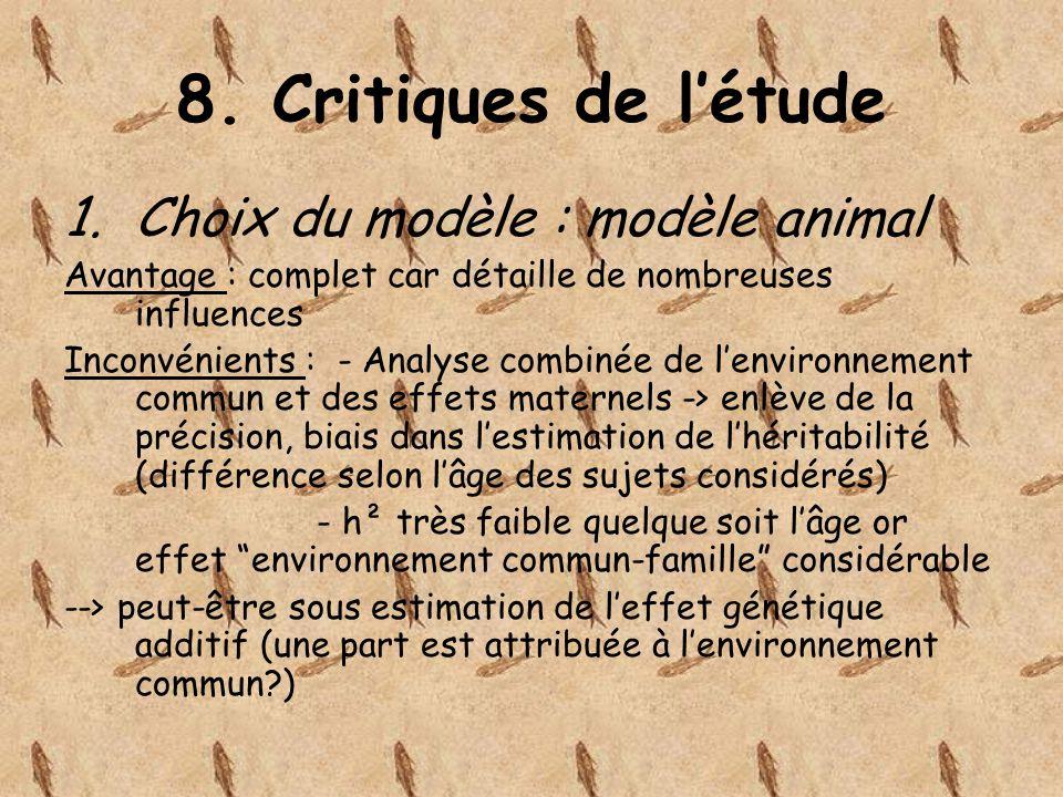 8. Critiques de létude 1.Choix du modèle : modèle animal Avantage : complet car détaille de nombreuses influences Inconvénients : - Analyse combinée d