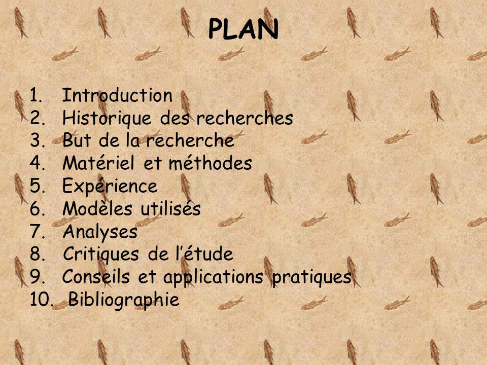 PLAN 1.Introduction 2.Historique des recherches 3.But de la recherche 4.Matériel et méthodes 5.Expérience 6.Modèles utilisés 7.Analyses 8. Critiques d