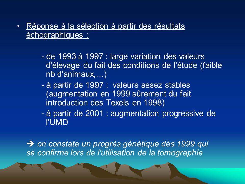 Réponse à la sélection à partir des résultats échographiques : - de 1993 à 1997 : large variation des valeurs délevage du fait des conditions de létude (faible nb danimaux,…) - à partir de 1997 : valeurs assez stables (augmentation en 1999 sûrement du fait introduction des Texels en 1998) - à partir de 2001 : augmentation progressive de lUMD on constate un progrès génétique dès 1999 qui se confirme lors de lutilisation de la tomographie