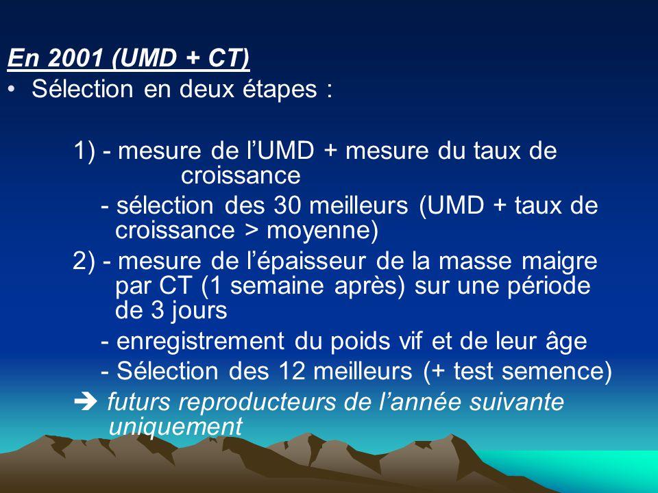 En 2001 (UMD + CT) Sélection en deux étapes : 1) - mesure de lUMD + mesure du taux de croissance - sélection des 30 meilleurs (UMD + taux de croissance > moyenne) 2) - mesure de lépaisseur de la masse maigre par CT (1 semaine après) sur une période de 3 jours - enregistrement du poids vif et de leur âge - Sélection des 12 meilleurs (+ test semence) futurs reproducteurs de lannée suivante uniquement