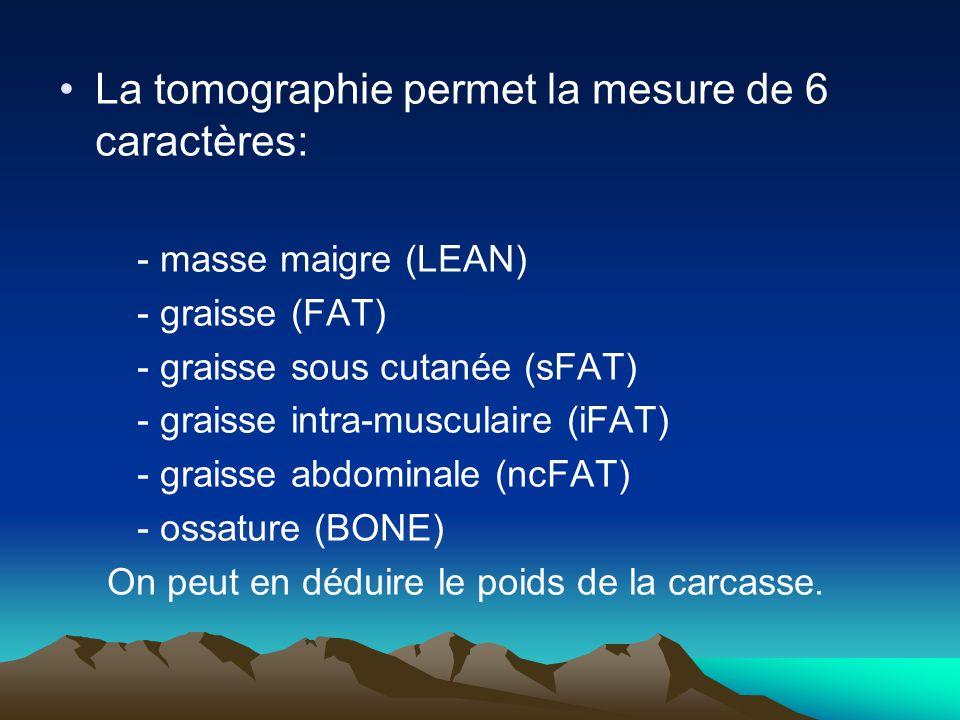 La tomographie permet la mesure de 6 caractères: - masse maigre (LEAN) - graisse (FAT) - graisse sous cutanée (sFAT) - graisse intra-musculaire (iFAT) - graisse abdominale (ncFAT) - ossature (BONE) On peut en déduire le poids de la carcasse.