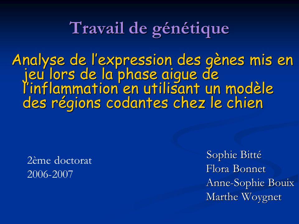 Travail de génétique Analyse de lexpression des gènes mis en jeu lors de la phase aigue de linflammation en utilisant un modèle des régions codantes c