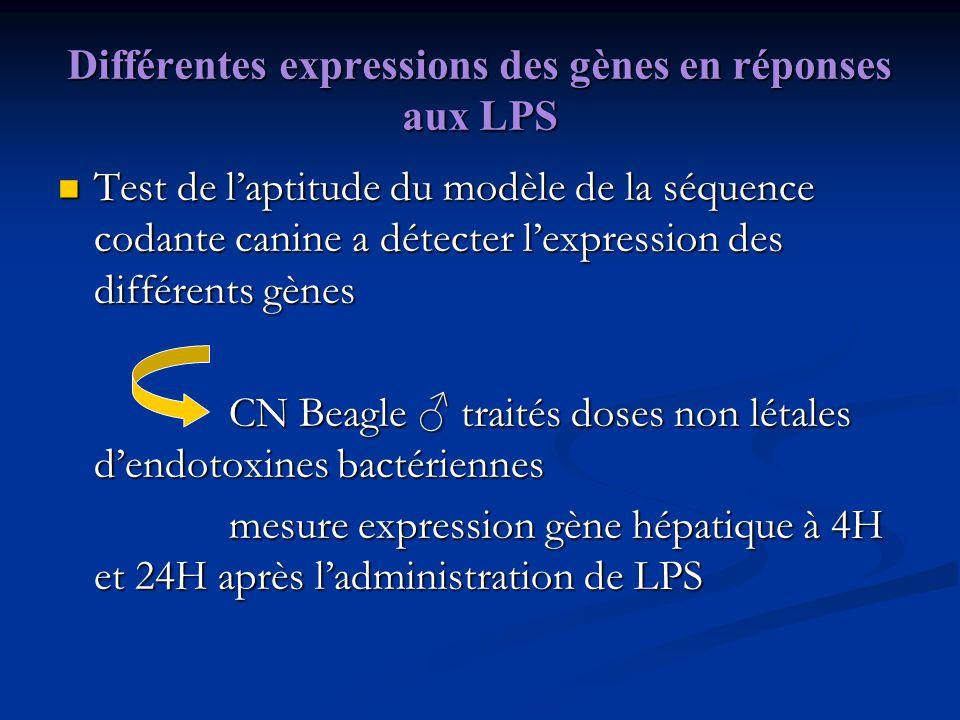 Différentes expressions des gènes en réponses aux LPS Test de laptitude du modèle de la séquence codante canine a détecter lexpression des différents