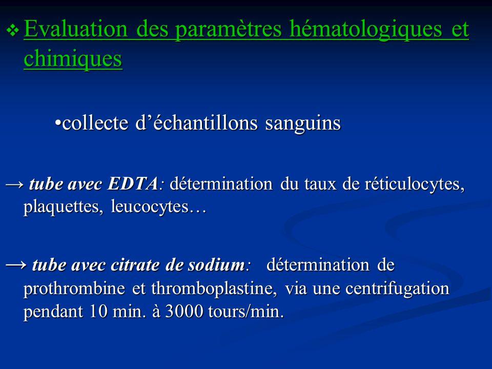 Evaluation des paramètres hématologiques et chimiques Evaluation des paramètres hématologiques et chimiques collecte déchantillons sanguins tube avec