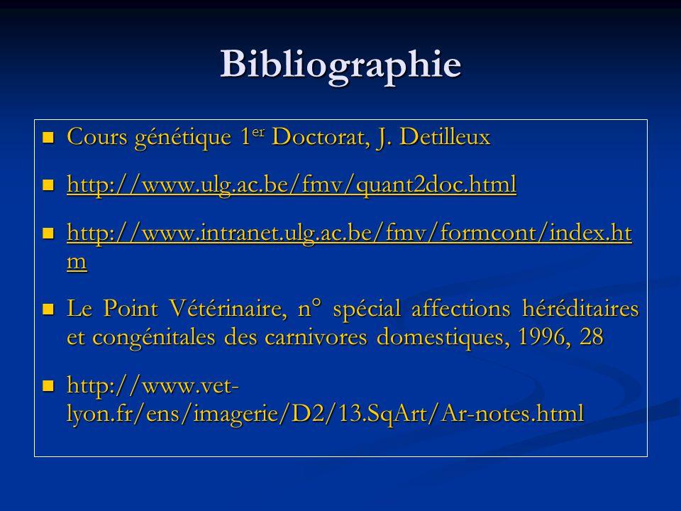 Bibliographie Cours génétique 1 er Doctorat, J. Detilleux Cours génétique 1 er Doctorat, J. Detilleux http://www.ulg.ac.be/fmv/quant2doc.html http://w